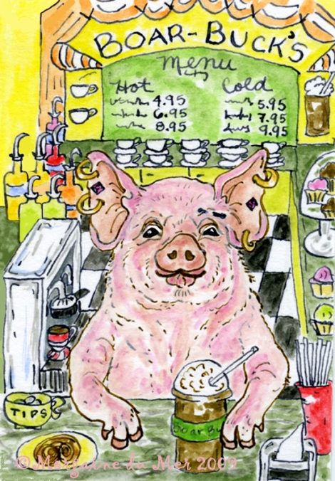 The Coffee Boar-ista Cartoon Art Print