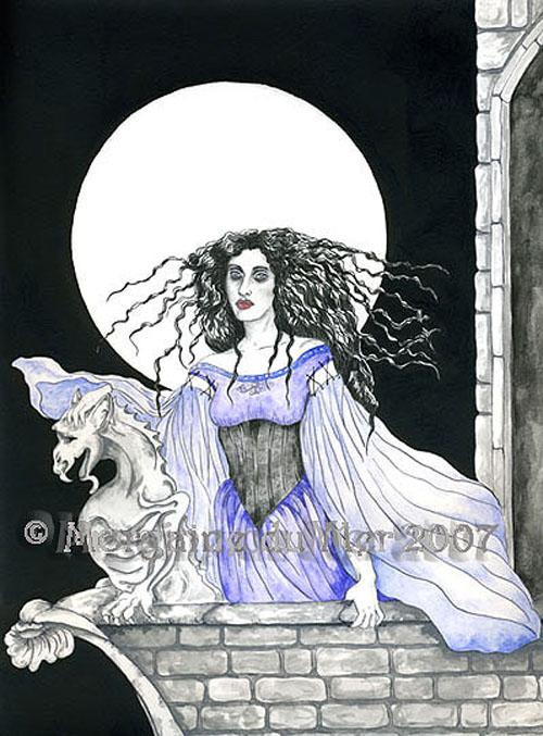 Lady and Gargoyle Full Moon Madness Fine Art Print