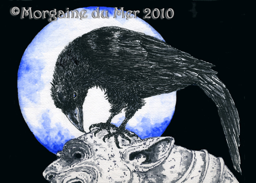 Raven and Gargoyle Blue Moon Fine Art Print