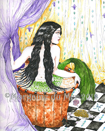 mermaid in a bathtub art print