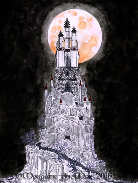 Gothic Castle on Hill Full Moon Fine Art Print