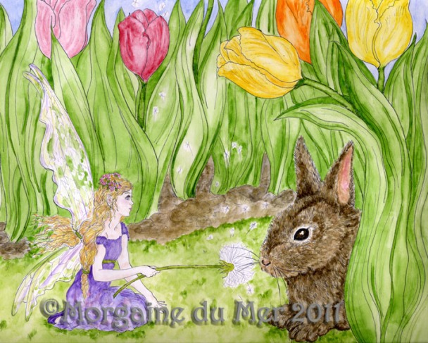 Little Fairy and Bunny Rabbit Art Print