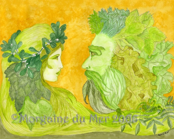 GreenWoman and GreenMan Together Fine Art Print
