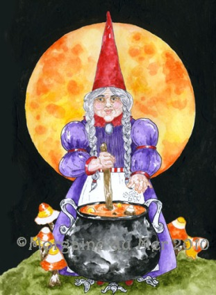 Halloween Witch Gnome Art Print