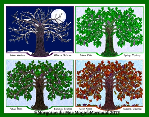 Magickal-Oak-Tree-Four-Seasons-Green-Border-Art-Print